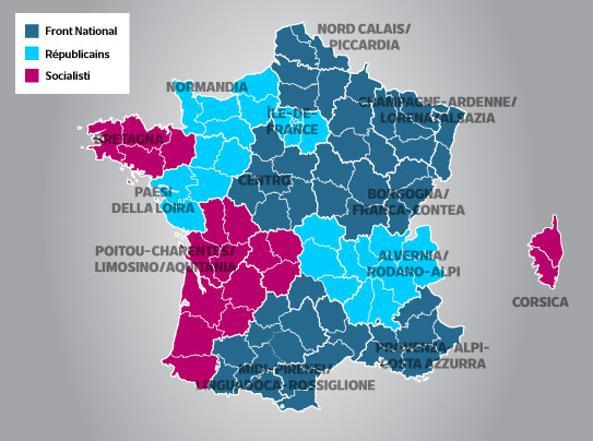 Regioni Francia Cartina.Opact Francia Elezioni Regionali Front National Primo Partito Crollo Dei Socialisti Le Due Le Pen Oltre 40 L Ultradestra Al 29 88 E Avanti In Sei Regioni Su 13
